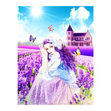 cartoon girl portrait Diamond Painting Full Round Purple Lavender floral New DIY Sticking Drill Cross Embroidery 5D