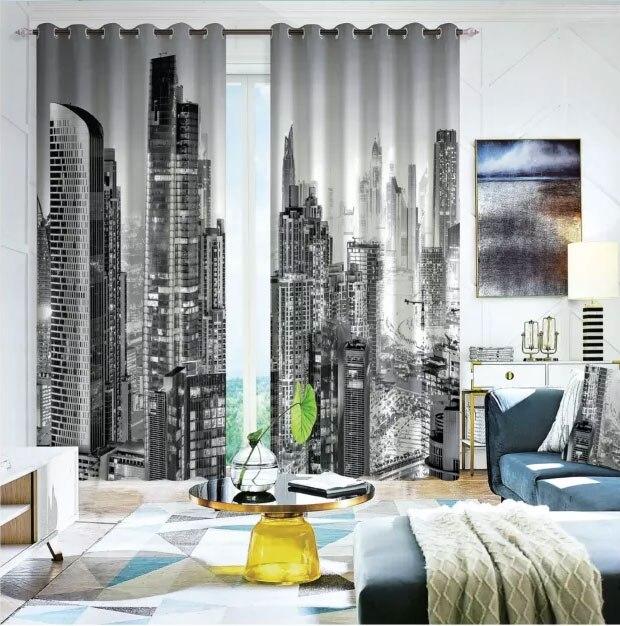 Fenêtre ville 3D rideau salon moderne maison produits fenêtre traitements Polyester imprimé 3d rideaux pour chambre