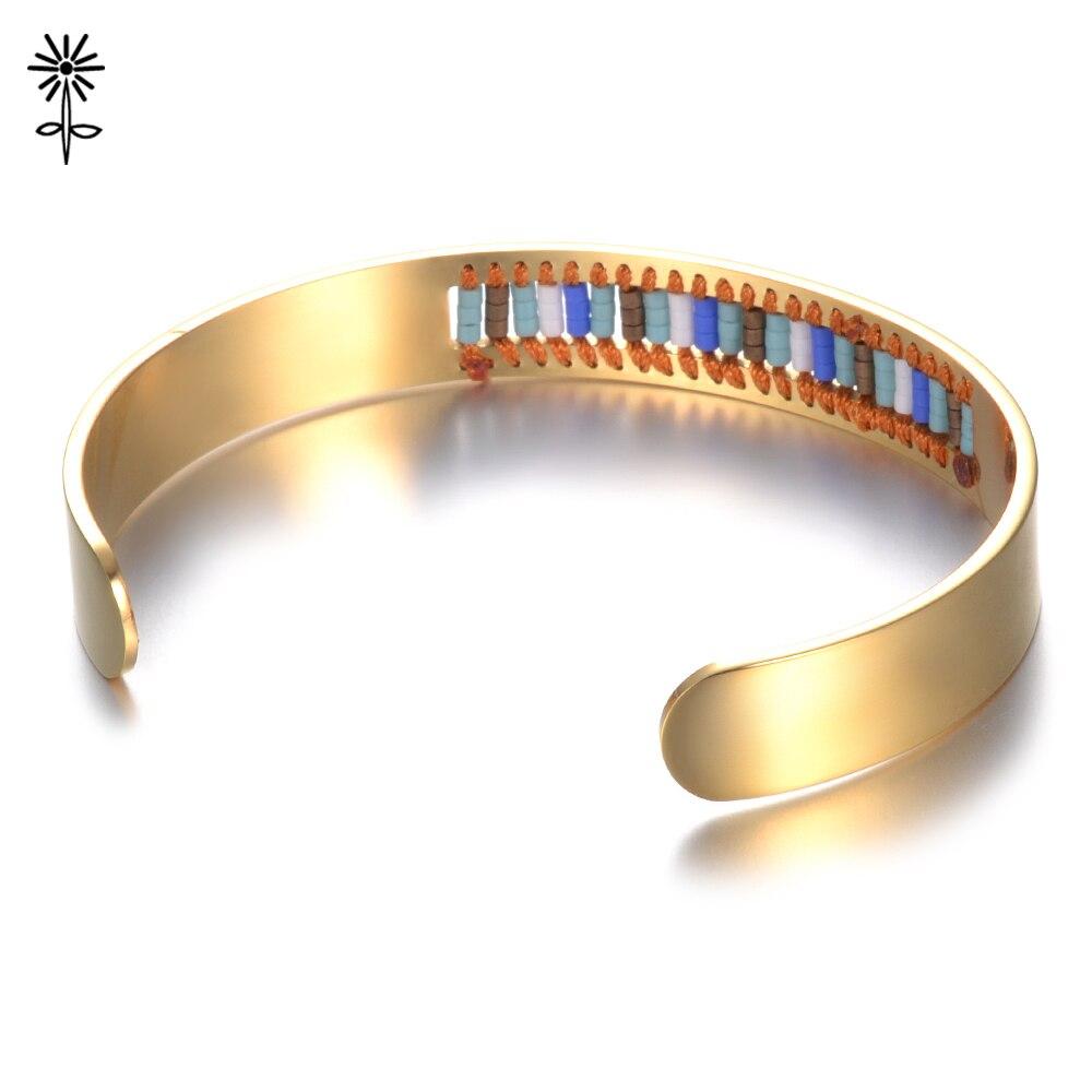 d1ca51b59 2018 Fashion Friendship Gift Cuff Bangle Arm Men Miyuki Beads Handmade  Bangles Bracelets Women Stainless Steel Jewelry M 027-in Bangles from  Jewelry ...