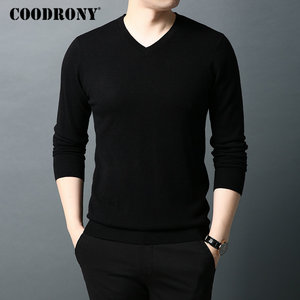 Image 1 - COODRONY Brand Sweater Men Pure Merino Wool Mens Sweaters Autumn Winter Thick Warm Cashmere Pullover Men V Neck Pull Homme 93014