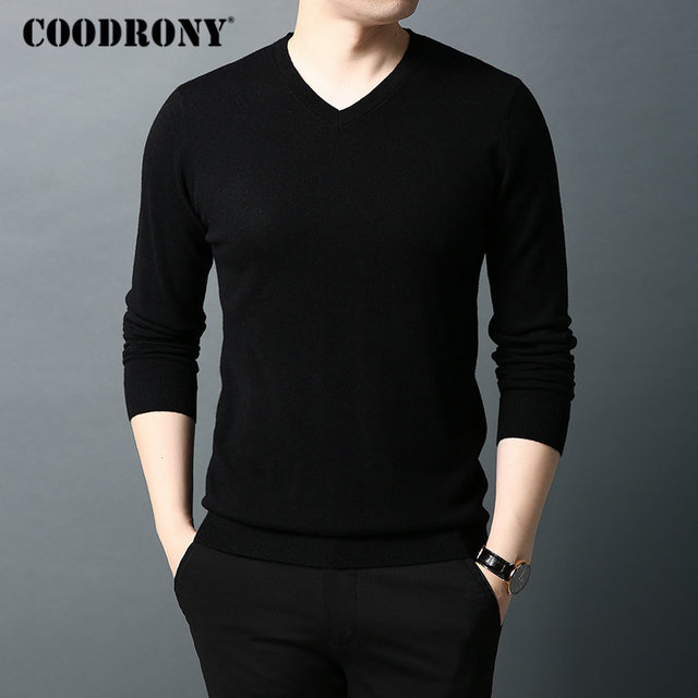 COODRONY Brand Sweater Men Pure Merino Wool Mens Sweaters Autumn Winter Thick Warm Cashmere Pullover Men V Neck Pull Homme 93014
