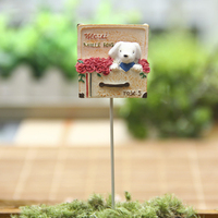 Zakka Resin Dogs Puppy Rose Flower Toys Stands Micro Fairy Garden Miniatures Figurines Decoration Terrarium Ornament
