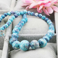 Hot Sale Crafts Tower Necklace Chain Semi Precious Stones Riverstones Rain Flower Rainbow Jasper 6 14mm