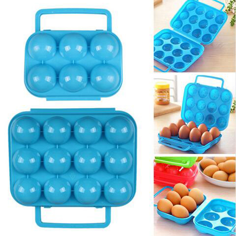 Portable Plastic Outdoor Picnic 6/12 Eggs Storage Box Container kitchen refrigerator egg covered storage Kitchen Gadgets B