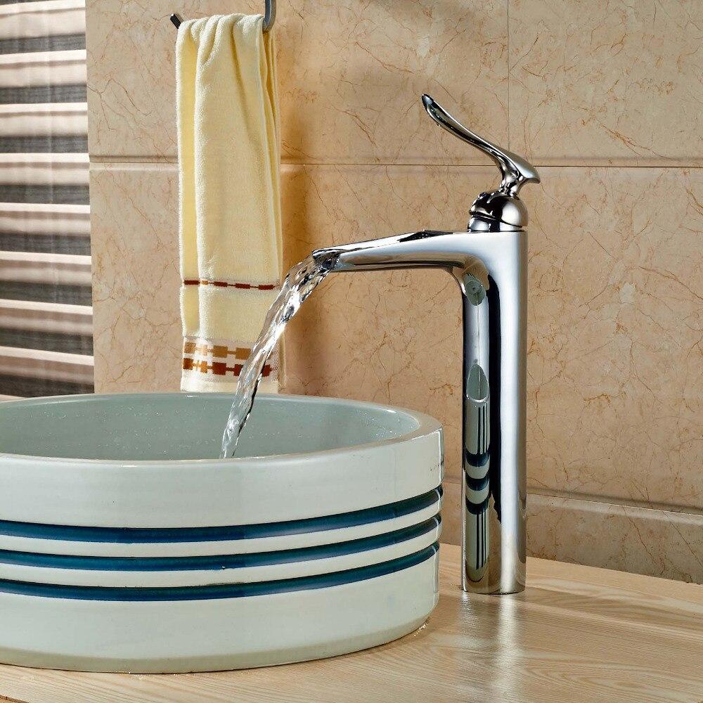 Taller Waterfall Spout Chrome Brass Bathroom Basin Facuet Single ...