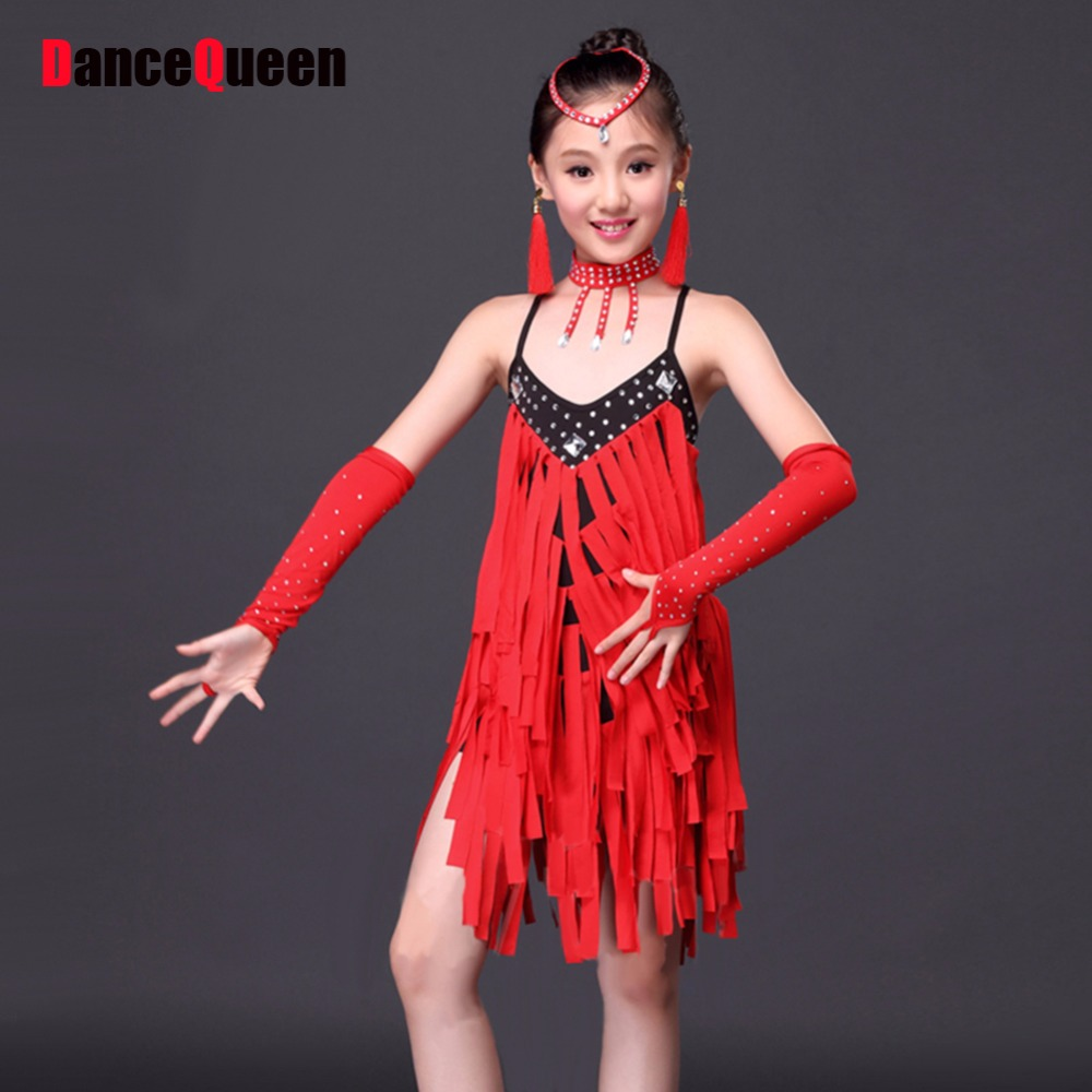 2017 Child Latin Dance Clothes For Girls 5pcs Dress Headwear Necklace Gloves font b Leggings b