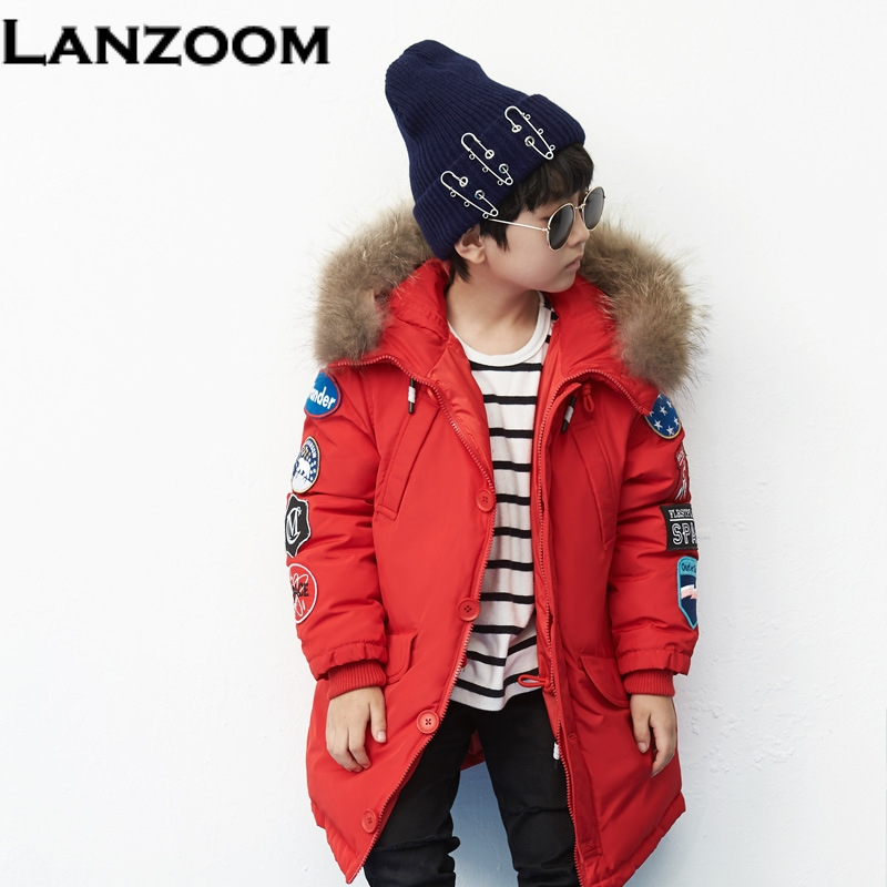 New Design 5-12T Boys Girls Winter Coat Children Down Jackets Fur Collar Thick Kids Snow Wear Teenage Clothes For Girls Costume 2016 new winter boys girls clothes coat children down