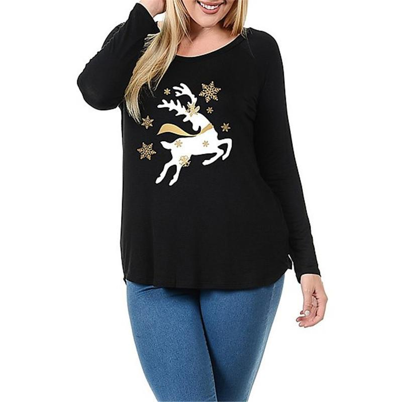 2017 Spring Winter Causal Christmas Tops Long Sleeve Round Neck T Shirt Women Elk Deer Printed T-Shirt Female Clothing WS4647O
