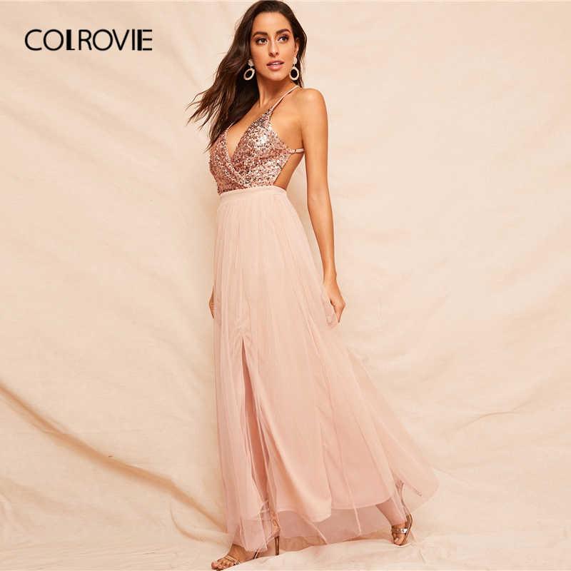COLROVIE, розовый лиф с пайетками, с перекрещенными бретелями и открытой спиной, Сетчатое платье для женщин, лето 2019, сексуальное платье макси с глубоким v-образным вырезом