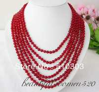 Nice 6 Strands 6 mm round natural red crystal bead necklace magnet clasp