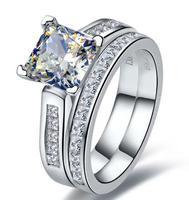 585 2 карата принцесса вырезать лучшее качество обручальное кольцо набор для женщин, 2