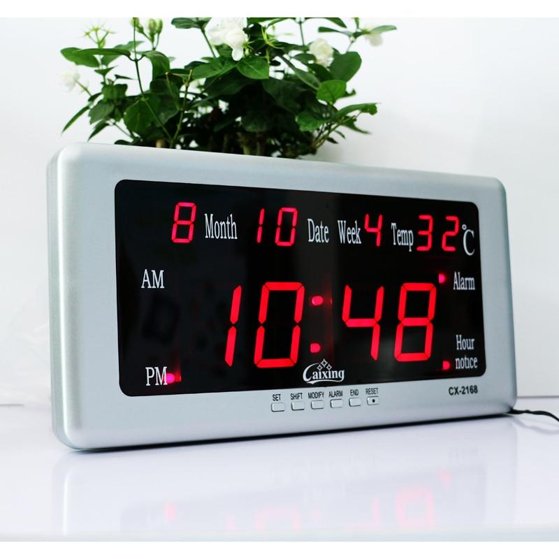 Large Led Digital Wall Clock With Calendar Temperature