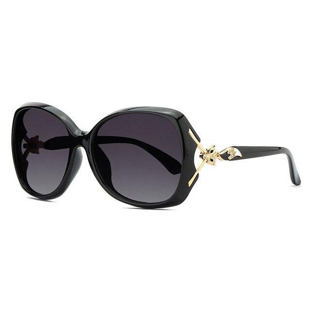05a9b26dc8d Fox Styles Black Big Polarized Sunglasses Women Oversized Oval Sun Glasses  Female Luxury Brand Designer De Soleil Femme CAAM01