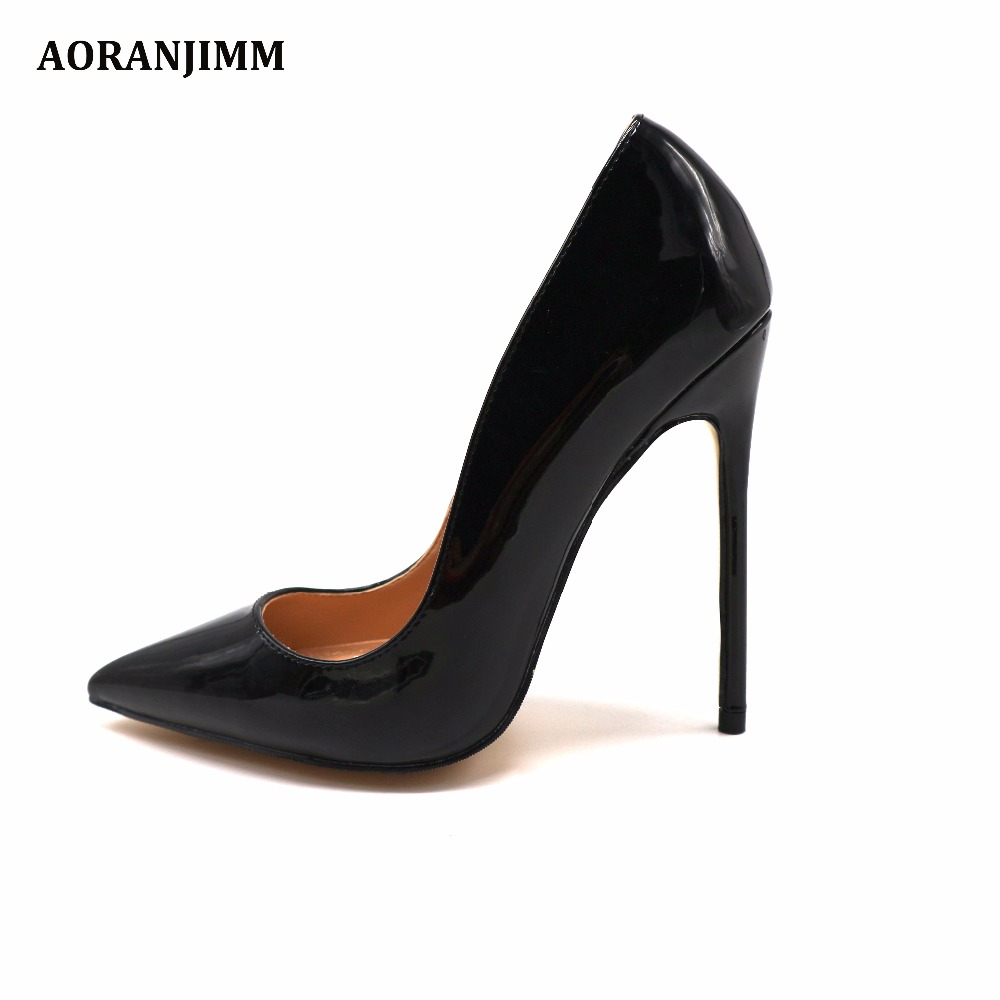 Free shipping real pic AORANJIMM classic black patent real leather office lady career women high heel