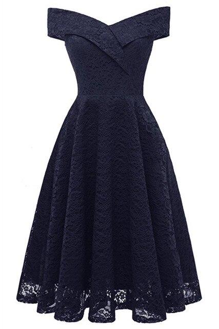 Коктейльные платья сексуальное бордовое кружевное короткое платье для вечеринки длиной до колена ТРАПЕЦИЕВИДНОЕ ПЛАТЬЕ С v-образным вырезом без рукавов - Цвет: Navy Blue