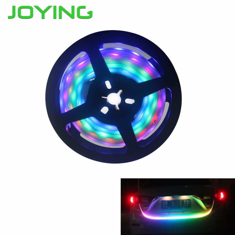 JOYING RGB Flowing LED Strip Light Car Trunk DRL Side Turn Signal Rear Light Blue Red Rear Lamp multicolor Trunk Tail Lights entrance wooden door handle made of solid black peach wood for timber glass metal frame doors pa 227 l660
