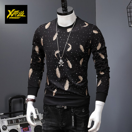 100% réel luxe hommes noir/blanc avec plume broderie t-shirt club/scène performance/studio/asie taille/ceci est seulement t-shirt