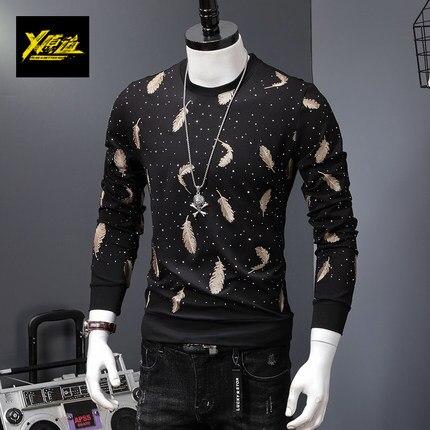 100% real lujo hombres negro/blanco con pluma bordado camiseta club/actuación de escenario/estudio/Asia tamaño/Esta es solo camiseta
