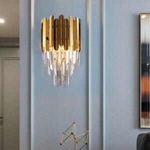 Image 3 - 高速無料現代の壁の燭台ランプ高級黄金の結晶壁照明器具を経由してledウォールランプの寝室のベッドサイド、リビングルームdhl