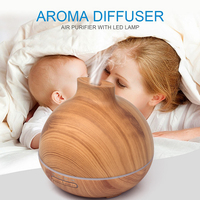 GXZ 400ml Wood Grain Aroma Diffuser LED Lights Ultrasonic Air Humidifiers Mist Maker Mini Household Air