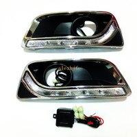 Июля King светодио дный габаритные огни DRL с туман крышка лампы чехол для Chevrolet Malibu 2012 ~ 15 1:1 замена, доставка