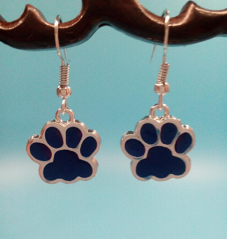 ᐂ1 par lote nouvelle mode bijoux émail bleu marine chat empreintes ... 1e5fe74aa205