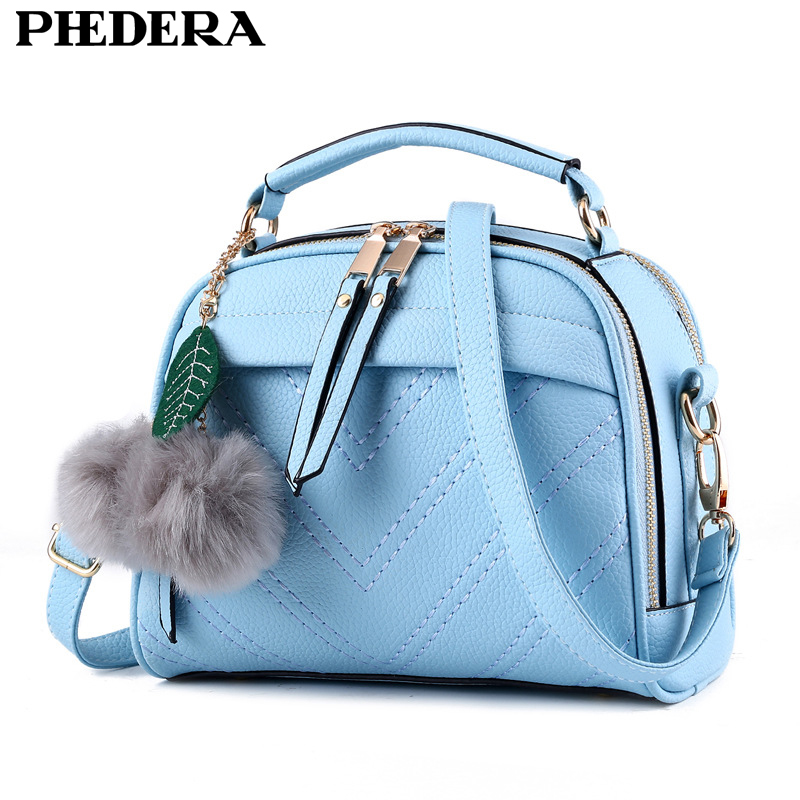Phedera Brand Summer High Quality Women Leather Handbag Bag Fashion Women Messenger Bags Small Flap Girl Summer Tote Blue Purse phedera europe style women tote bags high quality genuine leather female handbag simple fashion real leather brown women handbag