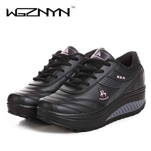 Image 4 - WGZNYN 2020 Slimming Shoes Women Fashion Leather Casual Shoes Women Lady Swing Shoes Spring Autumn Factory Top Quality Shoes