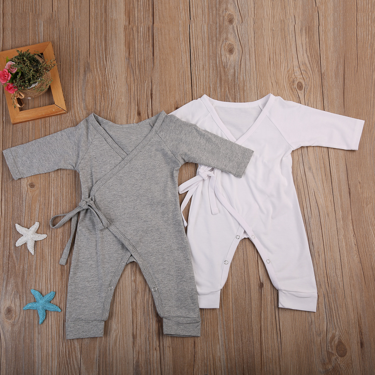 cute little wings baby   romper   autumn new long sleeves white gray newborn baby boys girls   romper   cotton jumpsuit outfits