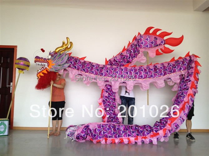 14m dolžina velikost 3 svilene tkanine vijolična kitajska DRAGON - Odrska in plesna oblačila