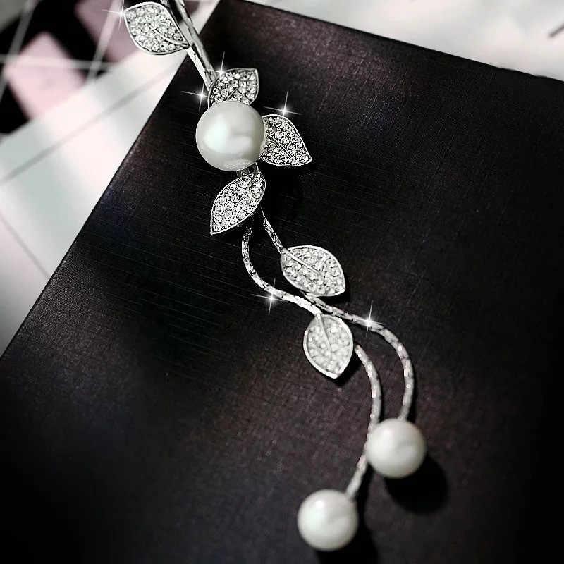 2018 moda plata hoja festival de alta calidad rosa perla borla largo párrafo salvaje suéter cadena Collar para mujer