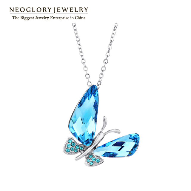 Neoglory  Austrian Crystal Butterfly Auden Rhinestone Pendants Necklaces For Women 2017 New Gift QC JS6 But-b B1