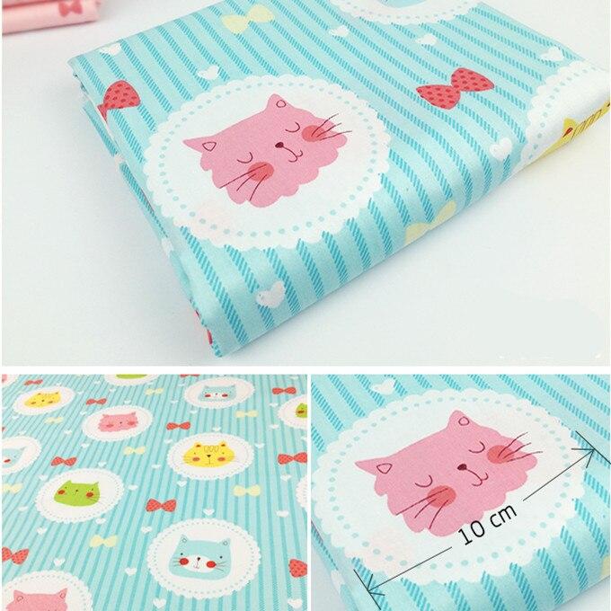 165105F4, 50 cm * 150 cm lindo gato de dibujos animados serie de tela de algodón