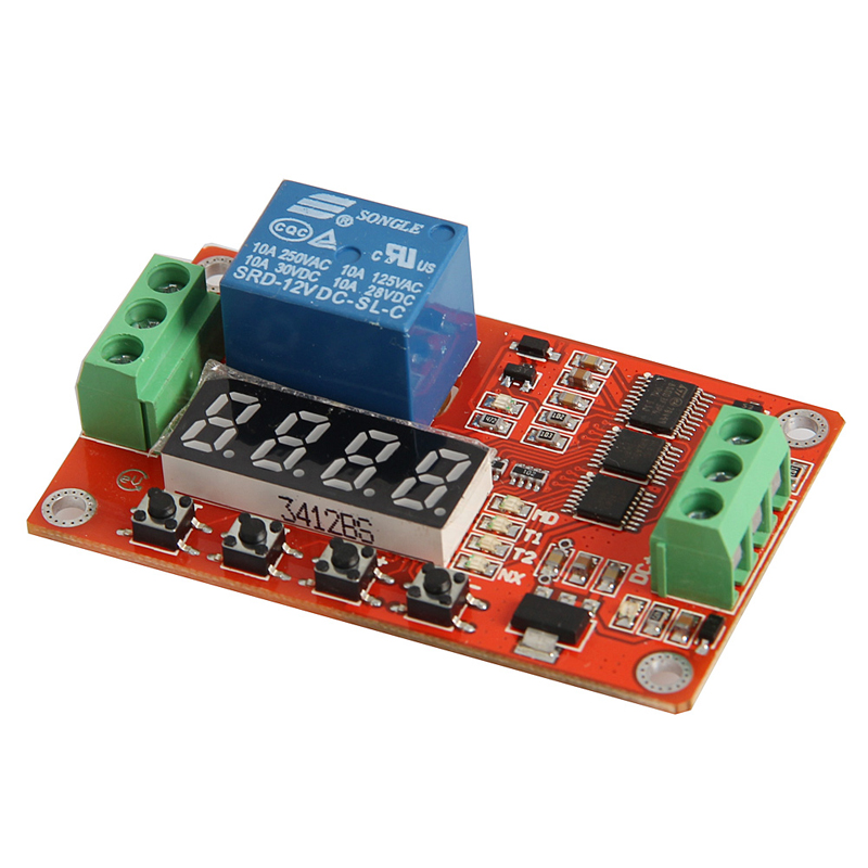 12V DC Multifunction Auto-lock Relay PLC Cycle Timer Time Delay Switch Module 12v timing delay relay module cycle timer digital led dual display 0 999 hours