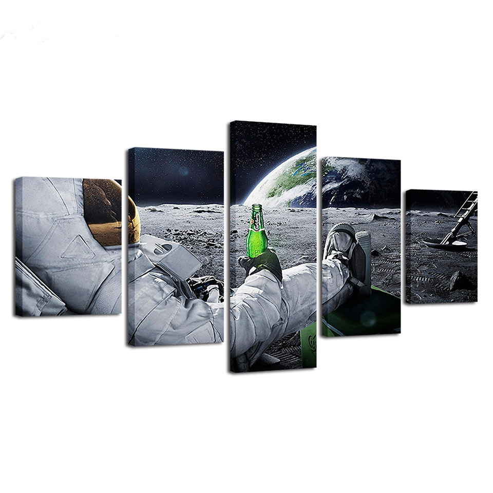 Canvas Poster Astronaut On The Moon Earth Planet A Men Drink Beer