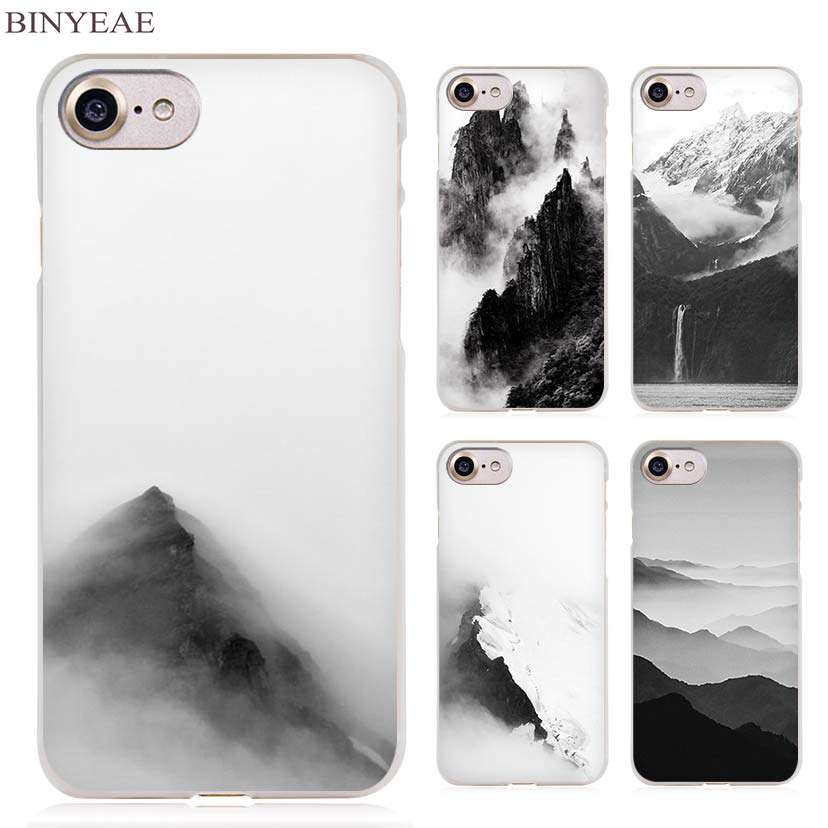 Galleria fotografica BINYEAE mountain mist black Clear Cell Phone Case Cover for Apple iPhone 4 4s 5 5s SE 5c 6 6s 7 7s Plus