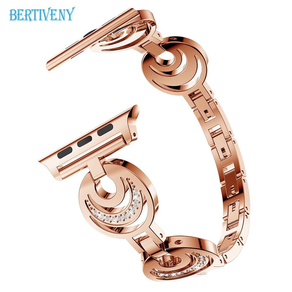 Women 39 s Bracelet for Apple Watch band 38mm 42mm sun amp moon stars diamond Stainless Steel Strap for iwatch Series 3 2 1 Wristband in Watchbands from Watches