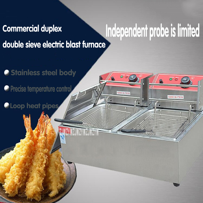 1PC Commercial Fryer Duplex Double Sieve Electric Frying Stove With Limit Probe Is Fried Chicken Leg Chips, FY-82A