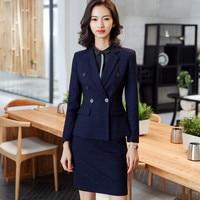 Women's suit skirt suit women's fashion check double breasted suit two piece suit (jacket + skirt) ladies business wear