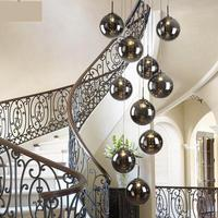 1.5 2 м лестницы дым черный спираль Подвеска Лампы Современный Вращающийся лестницы двойной пол длинные стеклянный шар подвесные светильник