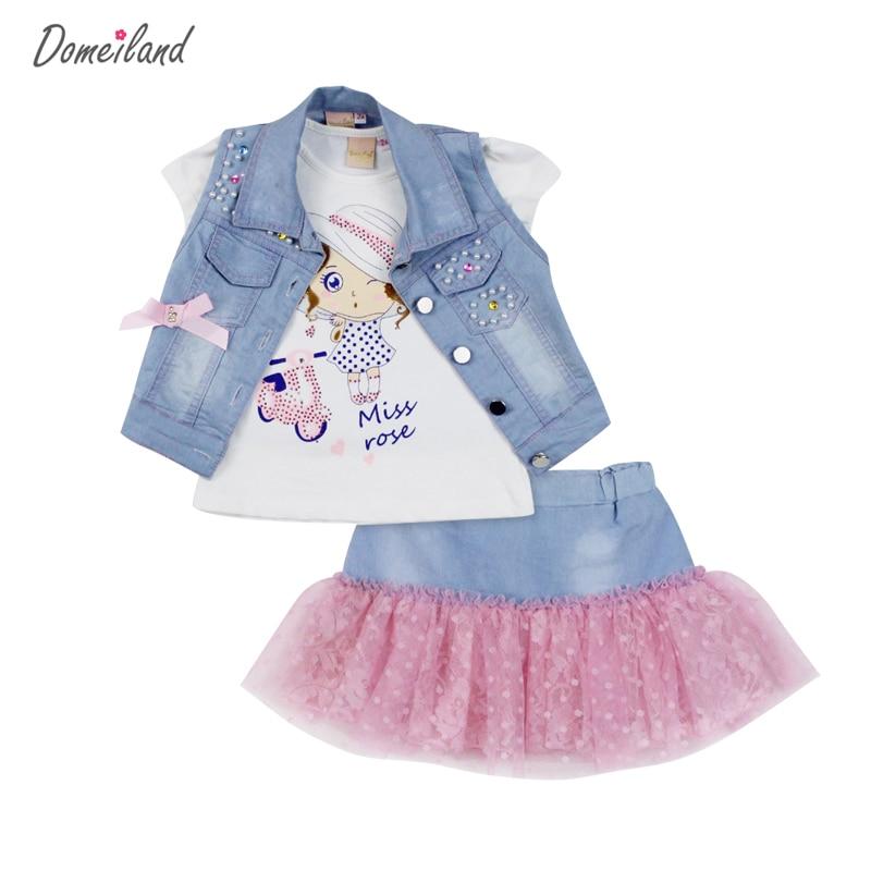 2017 fashion domeiland summer children clothing sets girl Denim short vest jackets cotton kids cartoon tops skirt suits clothes