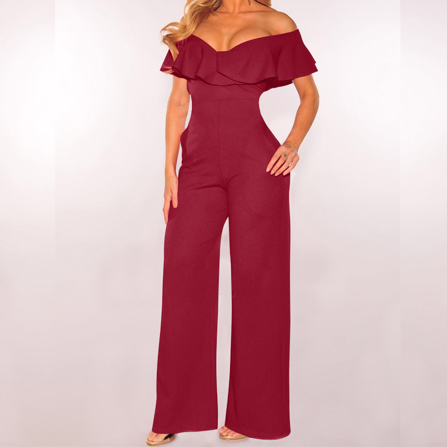 Off Shoulder Casual Women Jumpsuit Elegant Solid Stylish Jumpsuit Layered Ruffle High Waist Jumpsuits Female Overalls Body Mujer