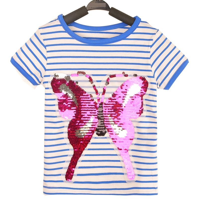 Striped Butterfly Baby Girl T-Shirts Sequins Summer Cotton Children Tee Shirts Bling Girls Jumpers Short Sleeve Kids Outfit Top