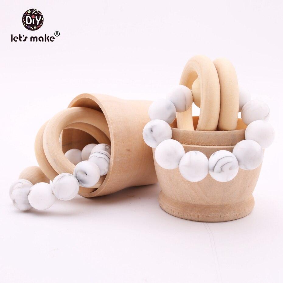 Let's Make Baby Teether Silicone Nursing Bracelet Marble Beads BPA Free Wood Teether Organic Baby Teething Toys