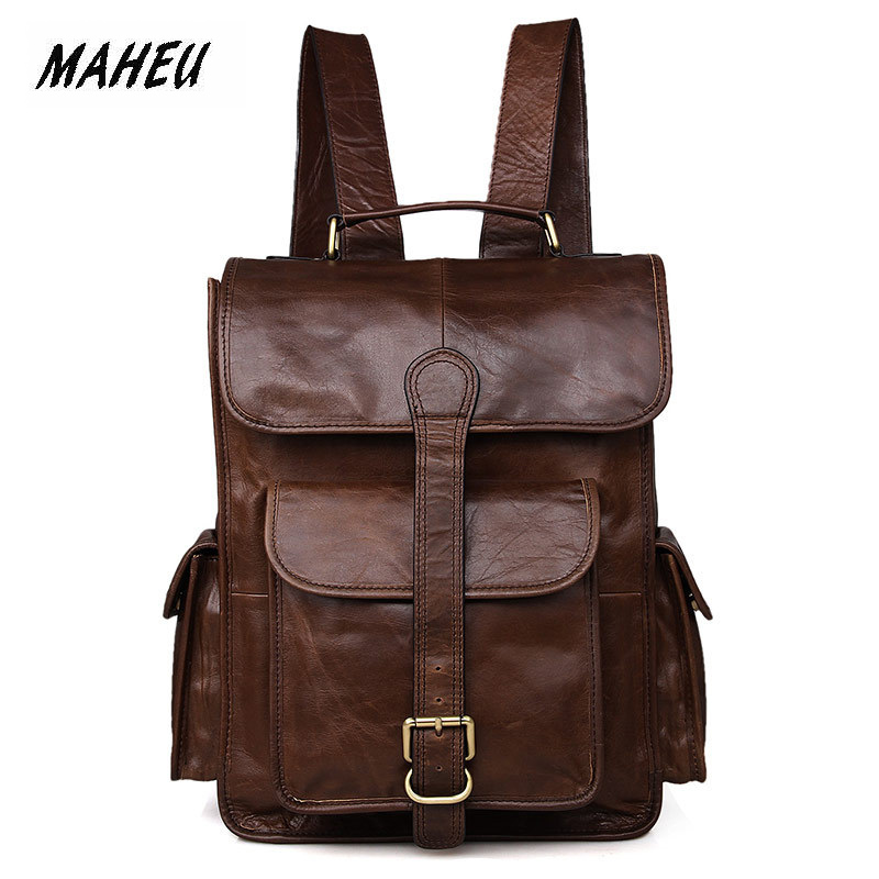 MAHEU High Fashion Mens Genuine Leather Backpack First Layer Cowhide Travelling Cover Backpacks Brown Men Male Laptop BackpackMAHEU High Fashion Mens Genuine Leather Backpack First Layer Cowhide Travelling Cover Backpacks Brown Men Male Laptop Backpack
