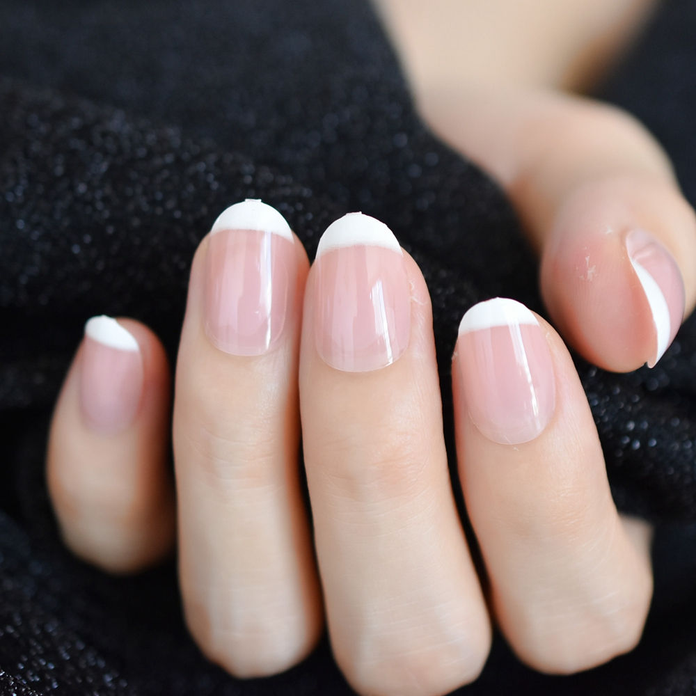 24pcs Clical Light Pink Clear French Nail Pointed Simple Design White Tip Uv Gel Nails Stiletto Flase Z966 In False From Beauty Health On
