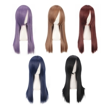 High Quality 60cm Long Dark Blue Purple Brown Black Wine Red Cosplay Wig Synthetic Hair Straight Costume Party Wigs For Women