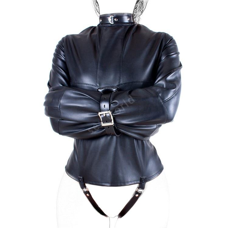 PU Leather Straitjacket BDSM Bondage Harness Women Adult Couple Game Straight Jacket Adjustable Fetish Do Customer Size Sex Shop