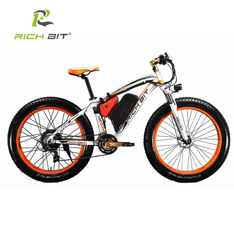 RichBit New Super Snow Electric Bike 48V 1000W Electric Bicycle With 48V 17Ah Lithium Battery 7 Speed Electric Mountain Bike
