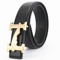 Nuevo diseño liso hebilla de cinturón vaca Cuero auténtico hombres cinturón de alta calidad aleación letra H leopardo patrón masculino cinturones de lujo